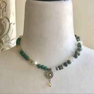 Shades of sage glass beads and stones necklace
